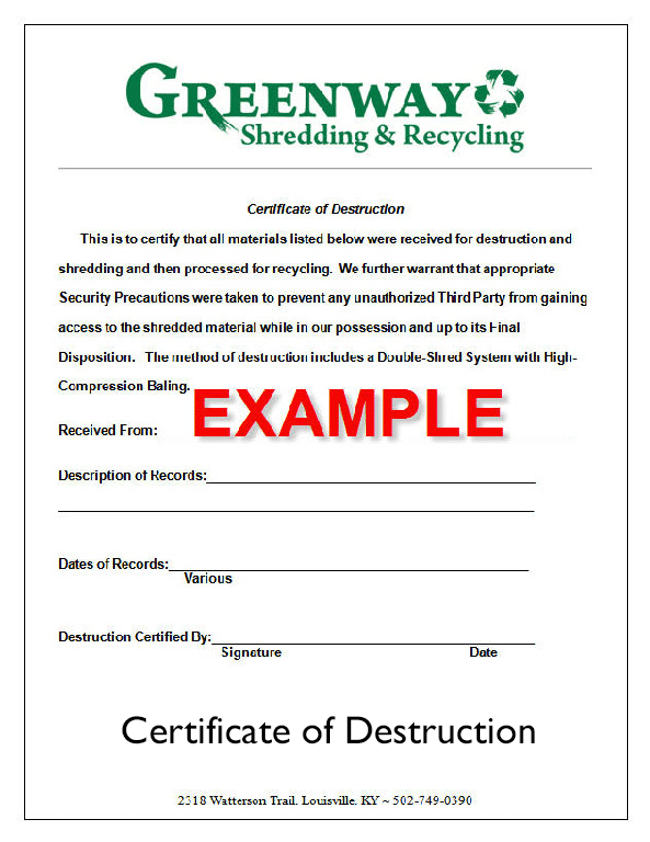 Free certificate of destruction template gallery for Certificate of destruction template word